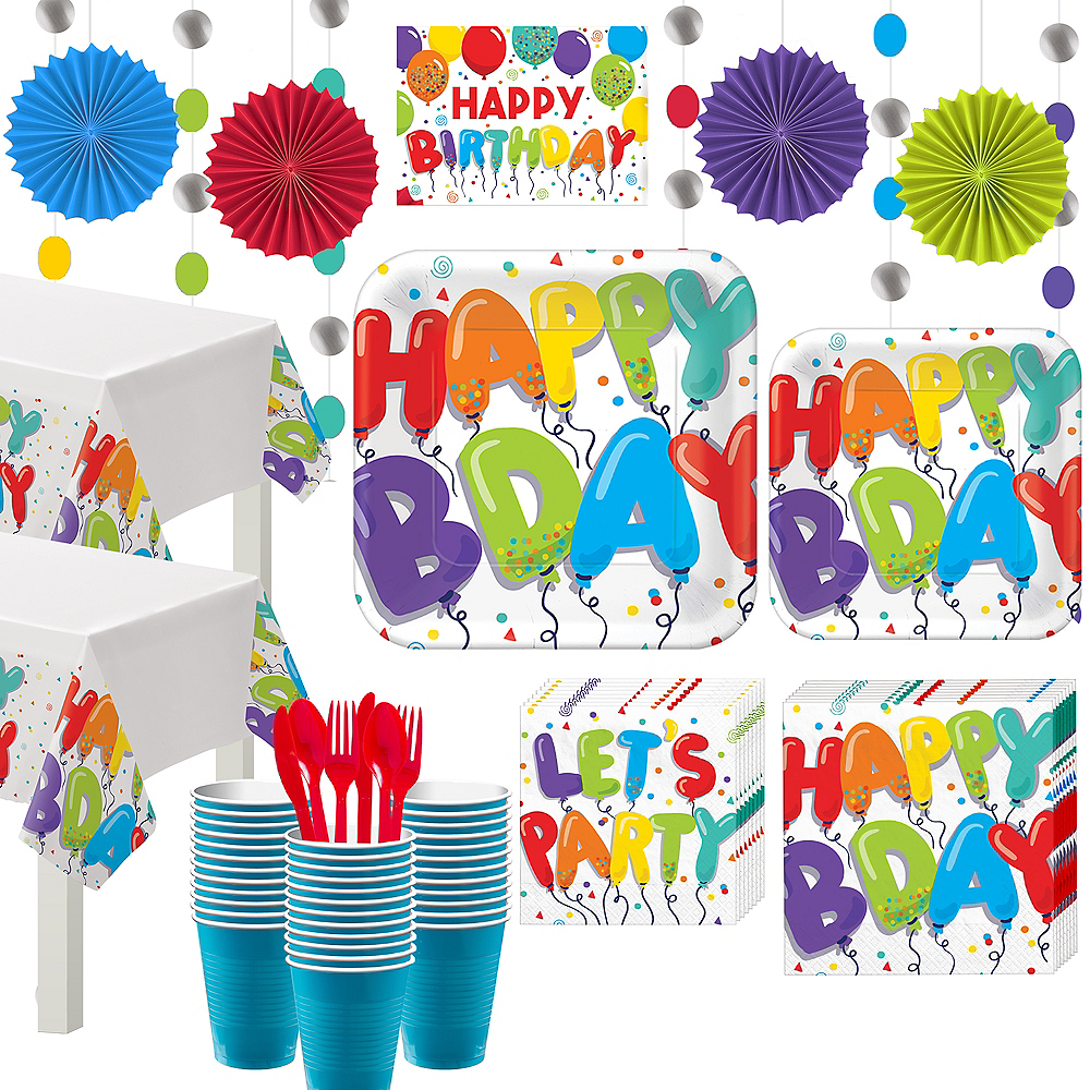 Rainbow Birthday Balloon Party Kit for 36 Guests Image #1