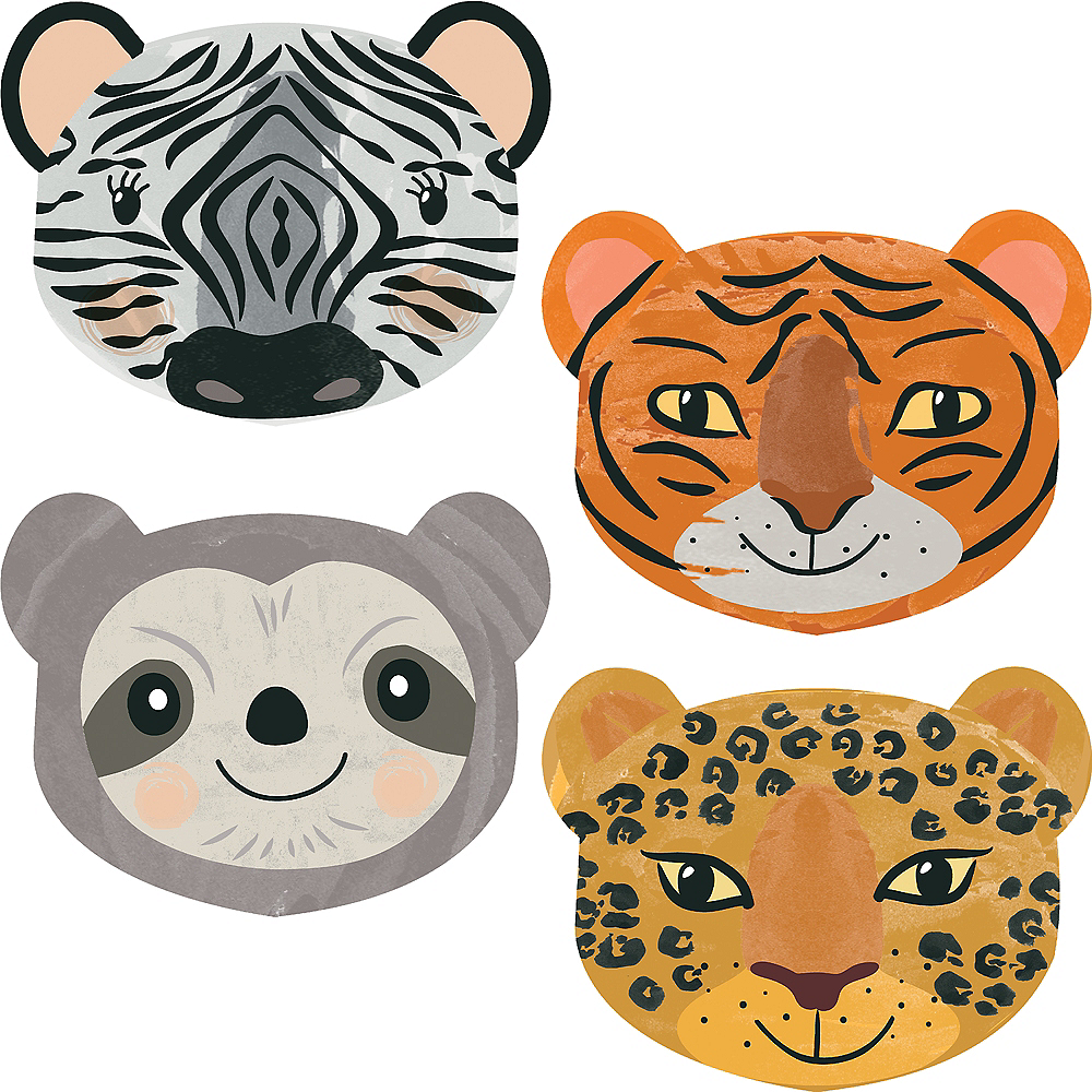 Shaped Jungle Fun Animal Faces Paper Plates, 9in, 8ct Image #1