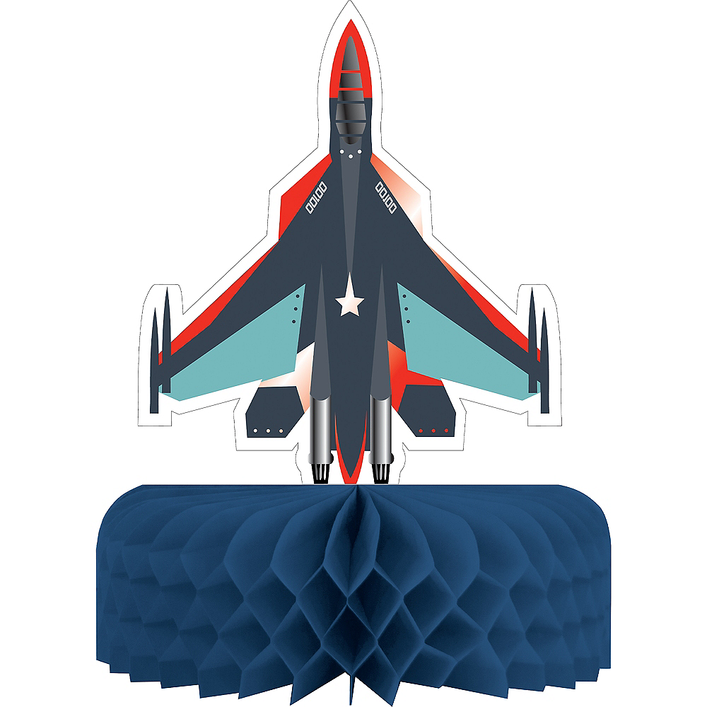 Fighter Jet Honeycomb Centerpiece, 11in tall Image #1