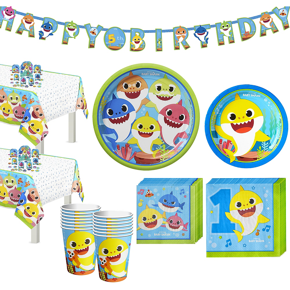 Baby Shark 1st Birthday Party Tableware Kit for 16 Guests Image #1