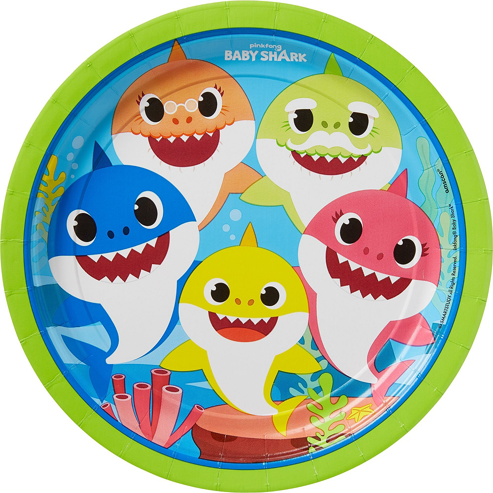 Baby Shark 1st Birthday Party Tableware Kit for 16 Guests Image #3