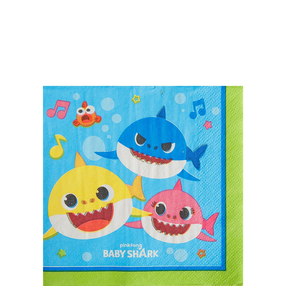 Baby Shark 1st Birthday Party Tableware Kit for 16 Guests Image #4