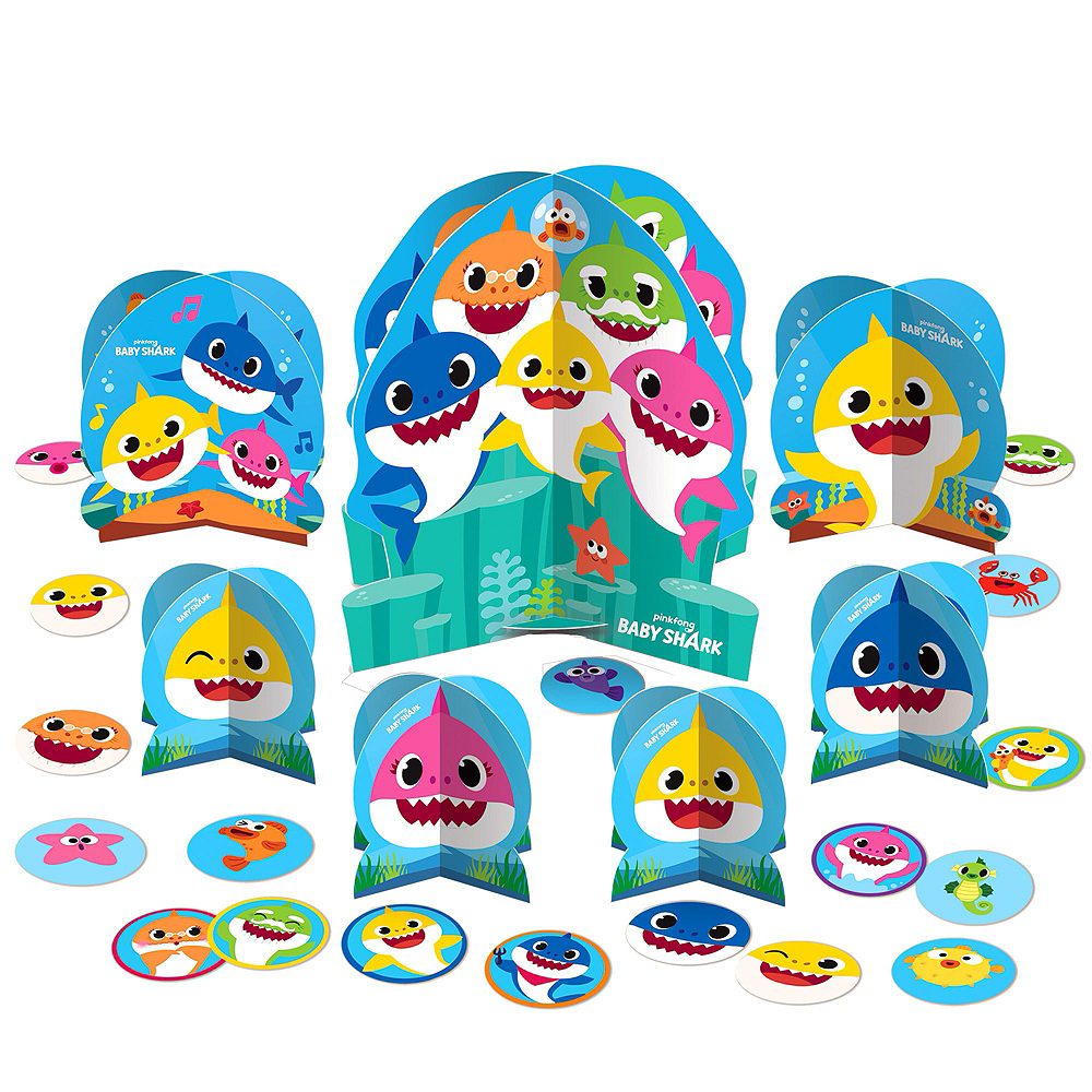 Baby Shark 1st Birthday Party Tableware Kit for 16 Guests Image #9