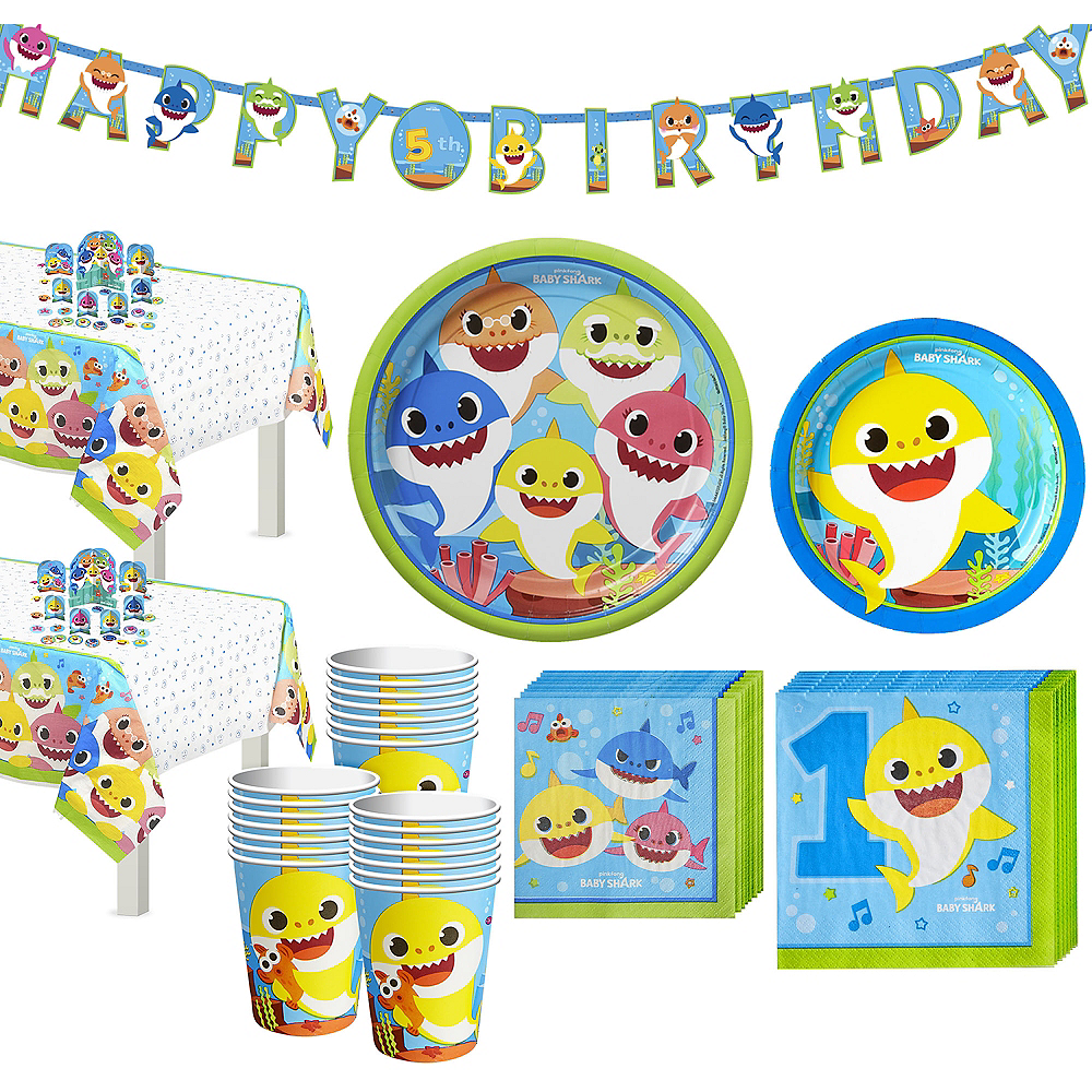 Baby Shark 1st Birthday Party Tableware Kit for 32 Guests Image #1