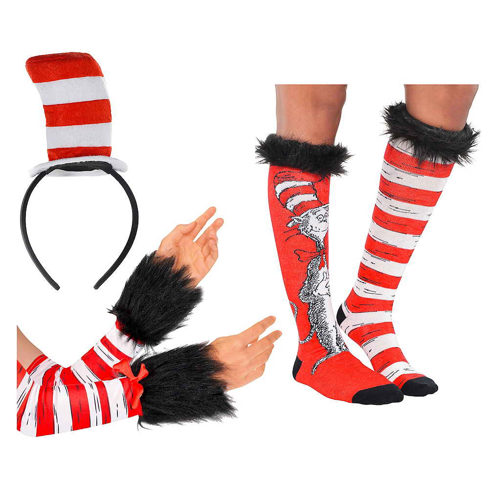 Dr. Seuss Cat In The Hat Headband & Socks Costume Accessory Kit Image #1