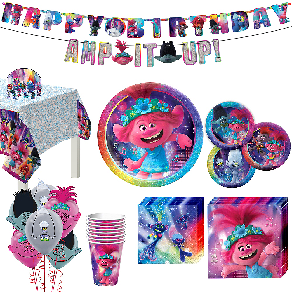 Trolls World Tour Tableware Kit for 8 Guests Image #1