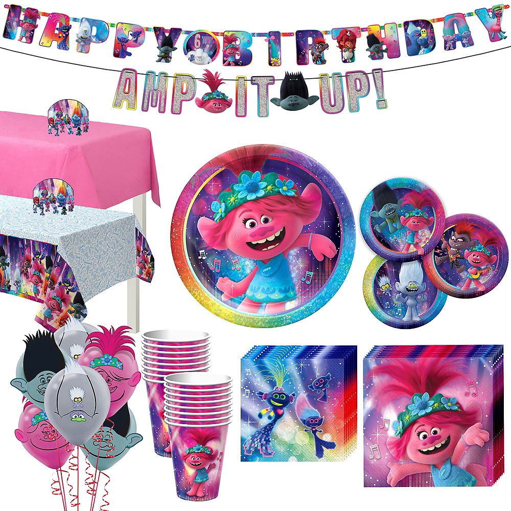 Trolls World Tour Tableware Kit for 16 Guests Image #1