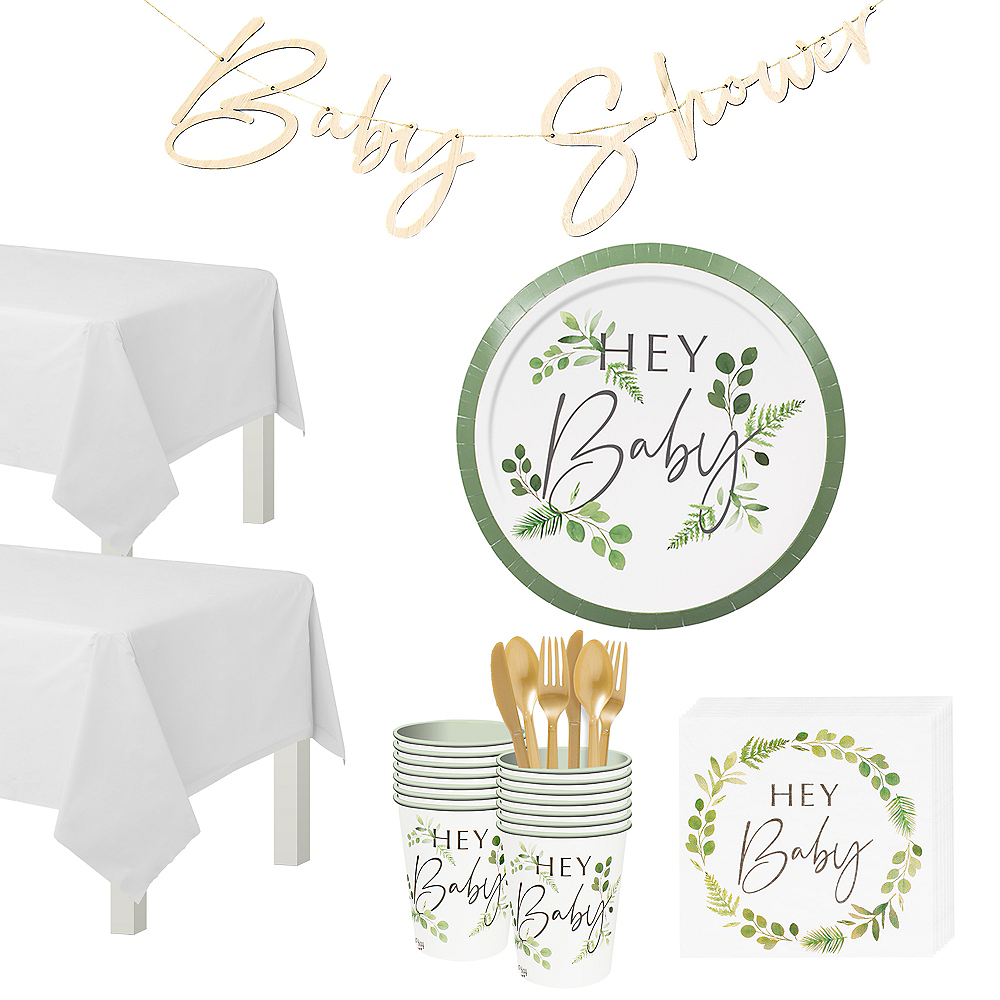 Ginger Ray Hey Baby Botanical Tableware Kit for 16 Guests Image #1
