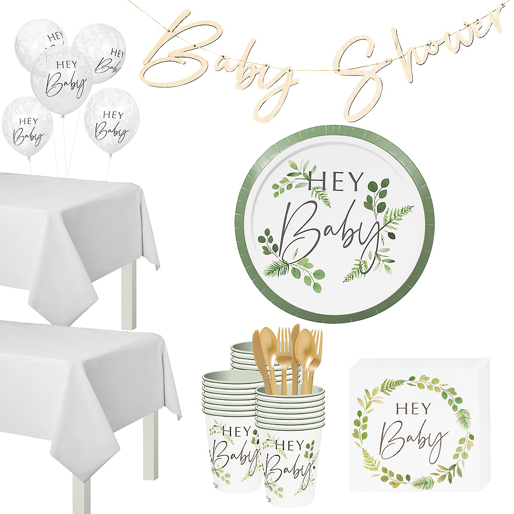 Super Ginger Ray Hey Baby Botanical Tableware Kit for 32 Guests Image #1