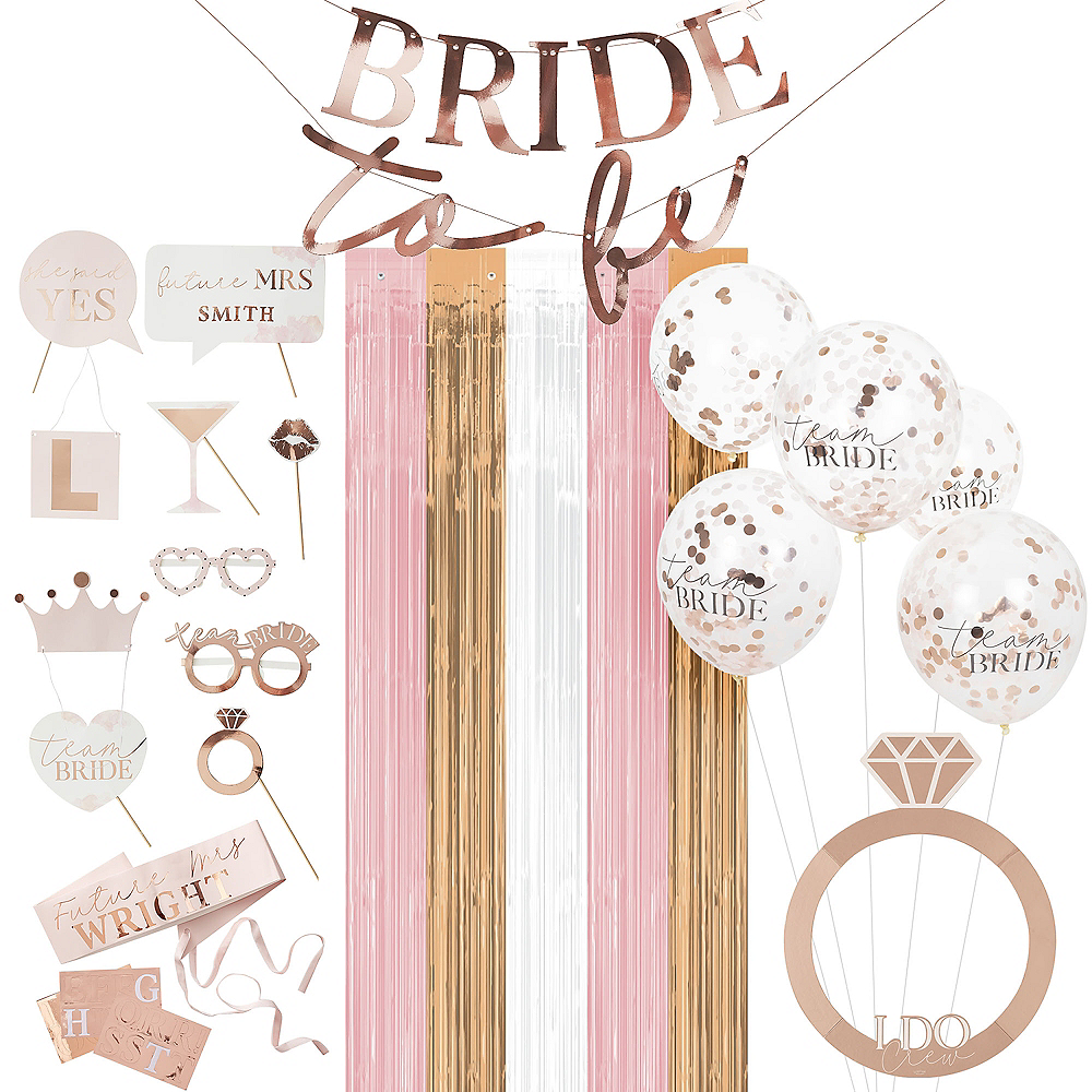 Ginger Ray Metallic Rose Gold Bachelorette Party Photo Booth Kit Image #1