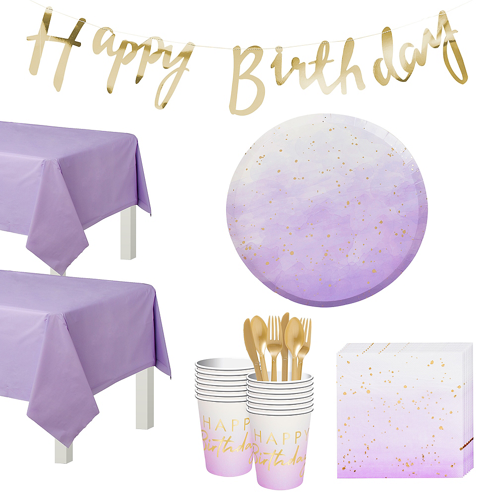 Ginger Ray Lilac Ombre Birthday Tableware Kit for 16 Guests Image #1