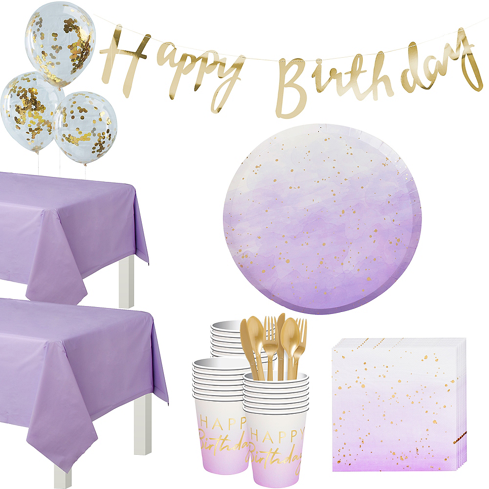 Super Ginger Ray Lilac Ombre Birthday Tableware Kit for 32 Guests Image #1