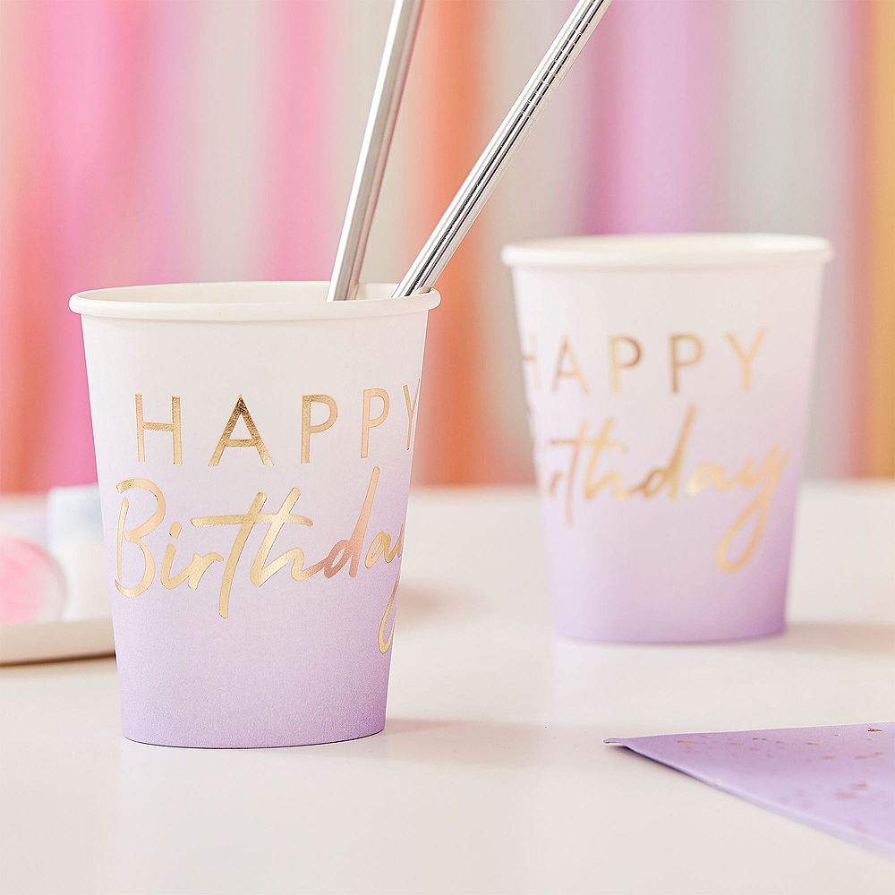 Super Ginger Ray Lilac Ombre Birthday Tableware Kit for 32 Guests Image #4