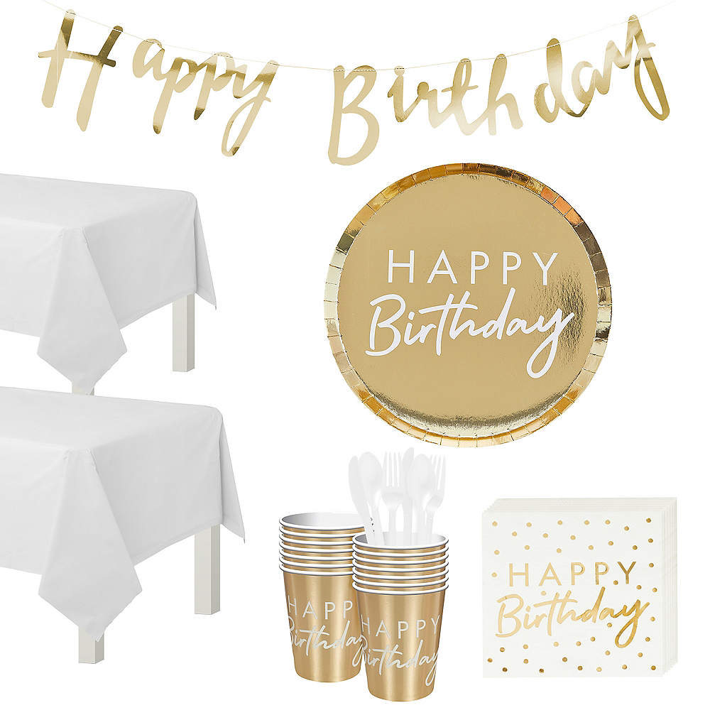 Ginger Ray Metallic Gold Birthday Tableware Kit for 16 Guests Image #1