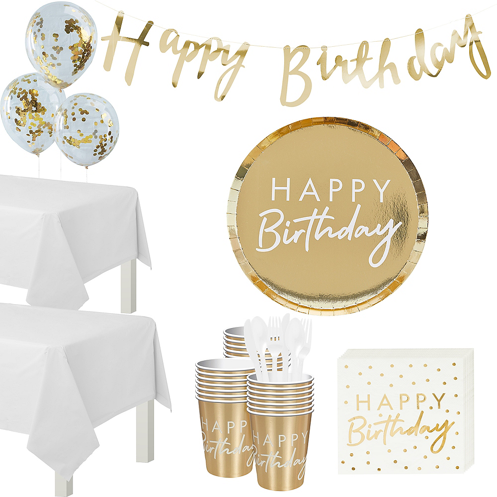 Super Ginger Ray Metallic Gold Birthday Tableware Kit for 32 Guests Image #1
