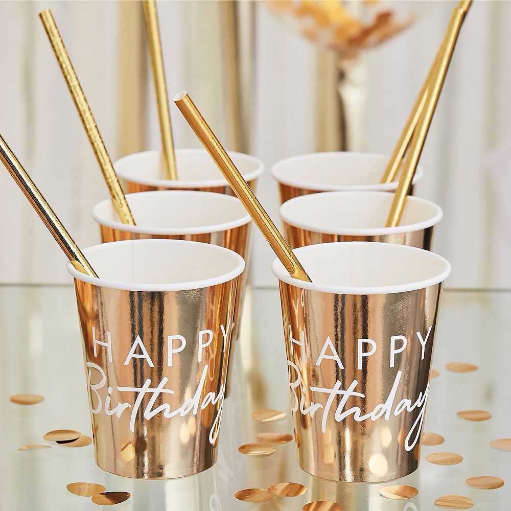 Super Ginger Ray Metallic Gold Birthday Tableware Kit for 32 Guests Image #4