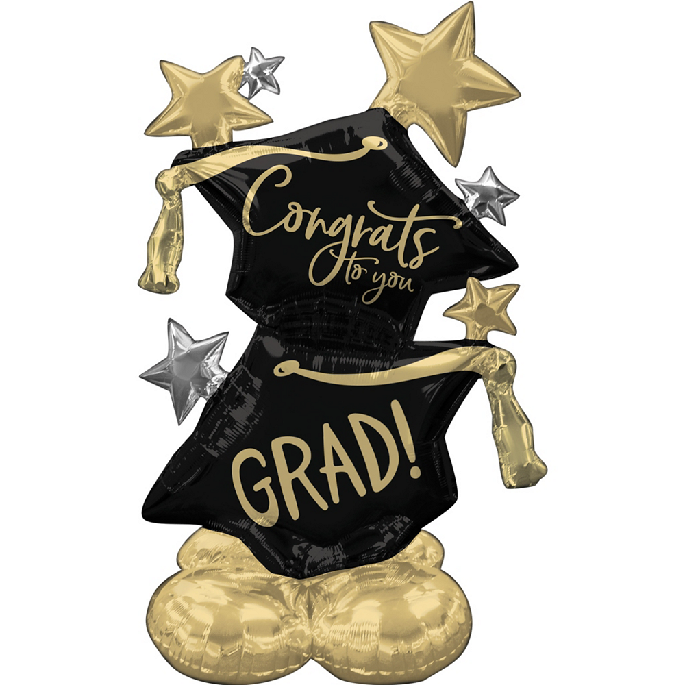 AirLoonz Black, Silver & Gold Congrats Grad Cap & Star Balloon, 51in Image #1