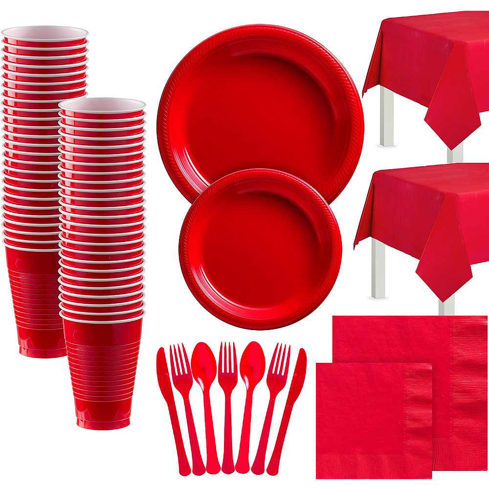 Red Paper Tableware Kit for 100 Guests Image #1