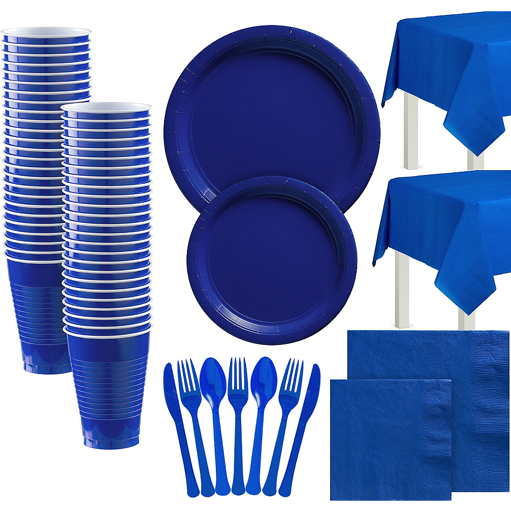 Royal Blue Paper Tableware Kit for 100 Guests Image #1