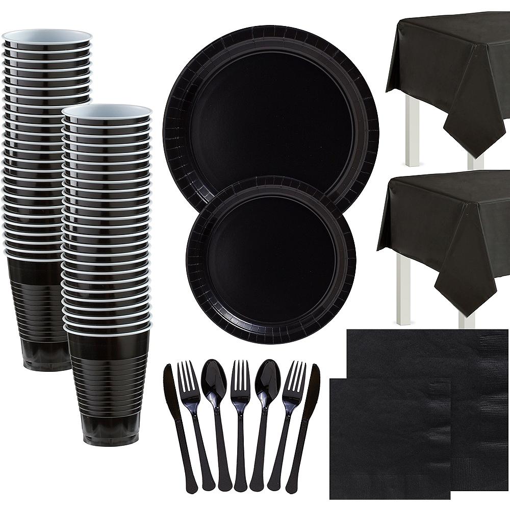 Black Paper Tableware Kit for 100 Guests Image #1