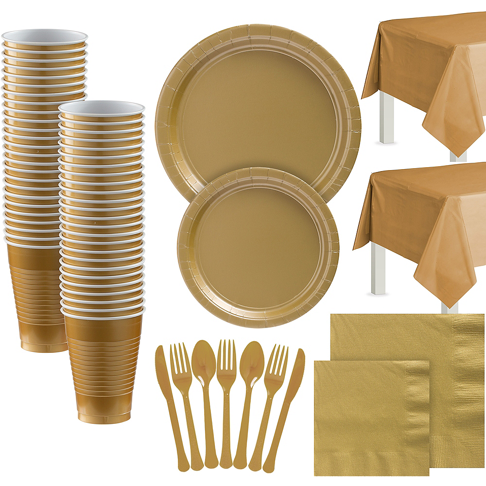 Gold Paper Tableware Kit for 100 Guests Image #1
