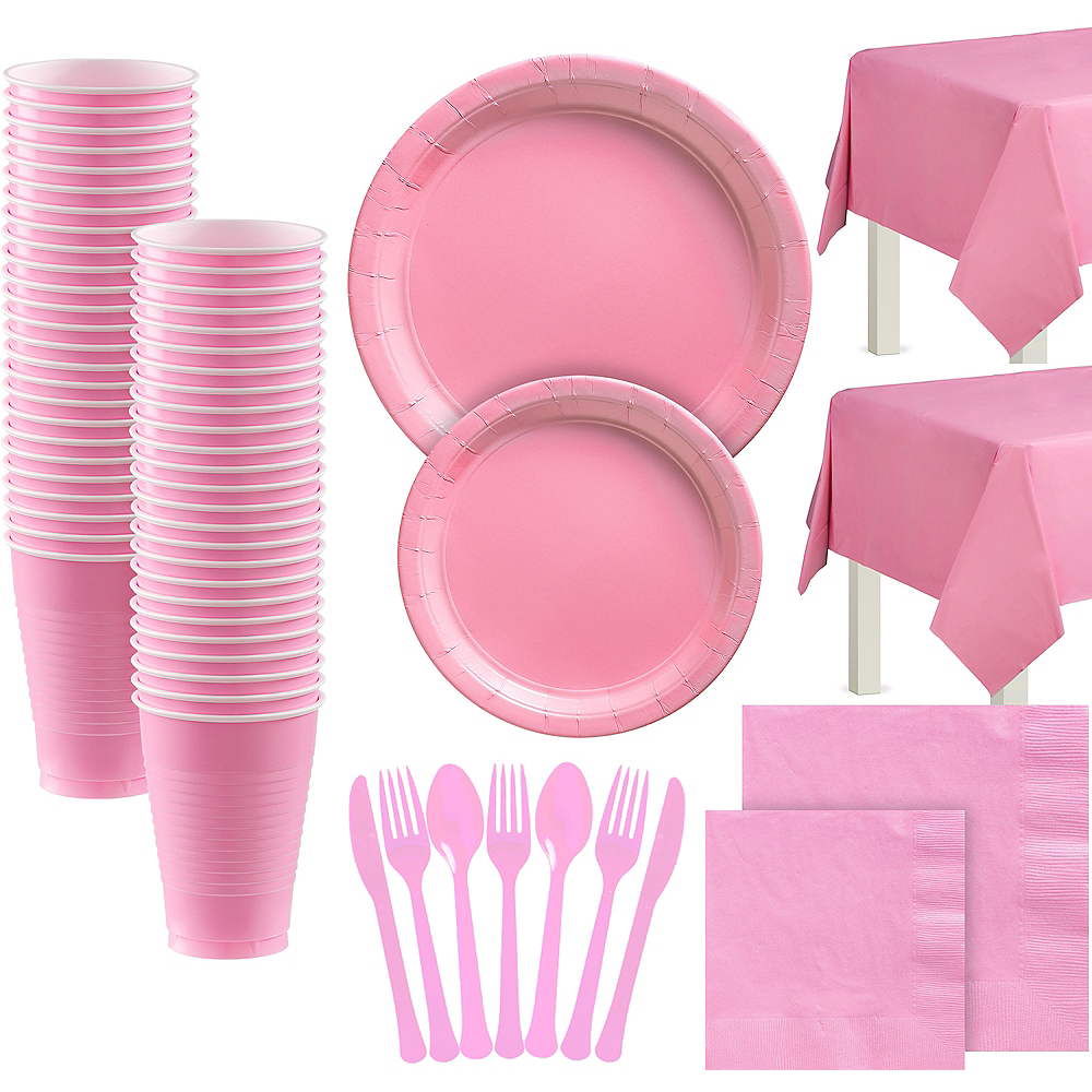 New Pink Paper Tableware Kit for 100 Guests Image #1