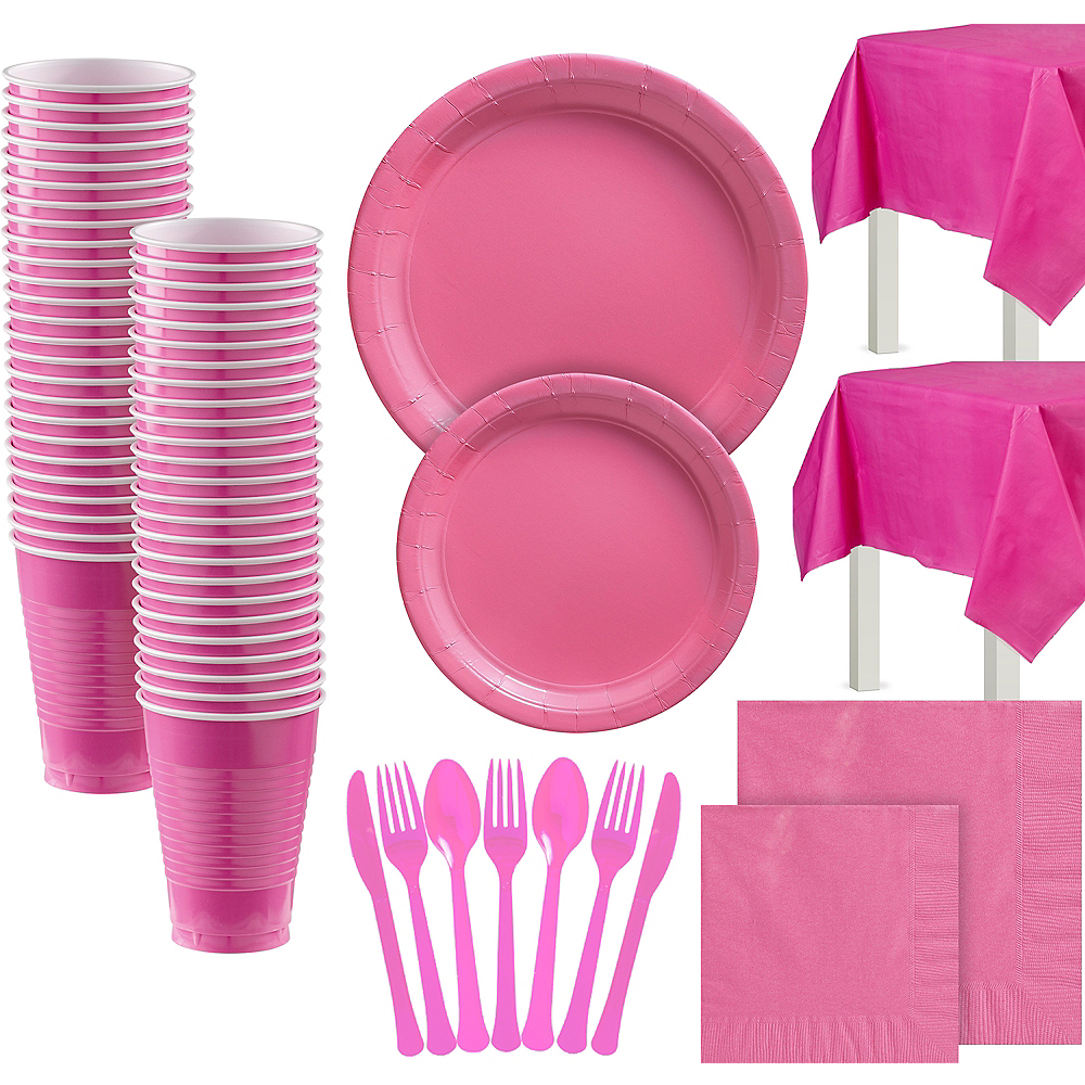 Bright Pink Paper Tableware Kit for 100 Guests Image #1