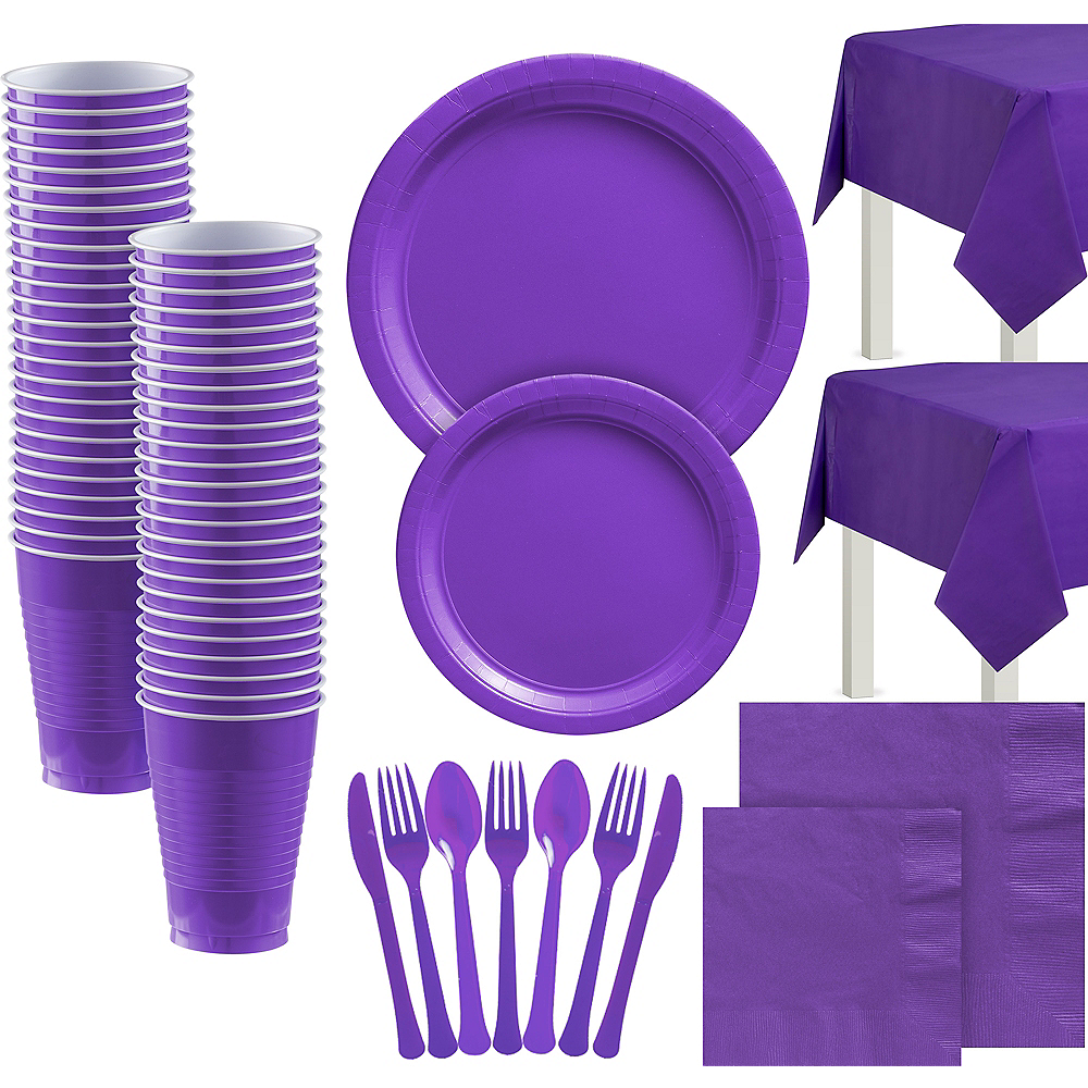 Purple Paper Tableware Kit for 100 Guests Image #1