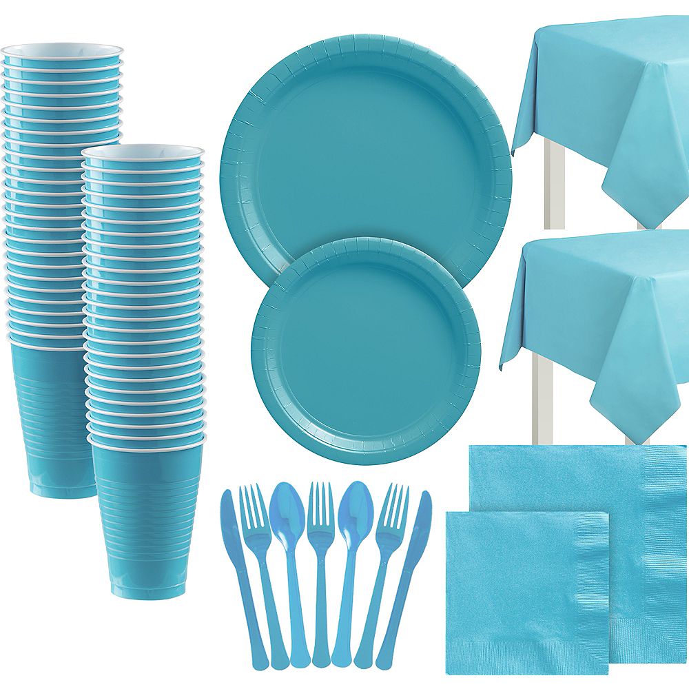 Caribbean Blue Paper Tableware Kit for 100 Guests Image #1