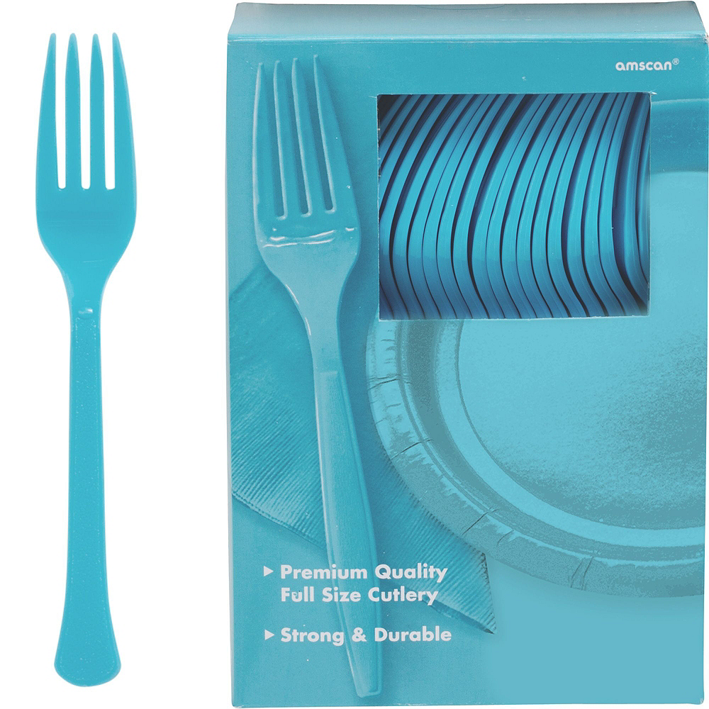 Caribbean Blue Paper Tableware Kit for 100 Guests Image #8