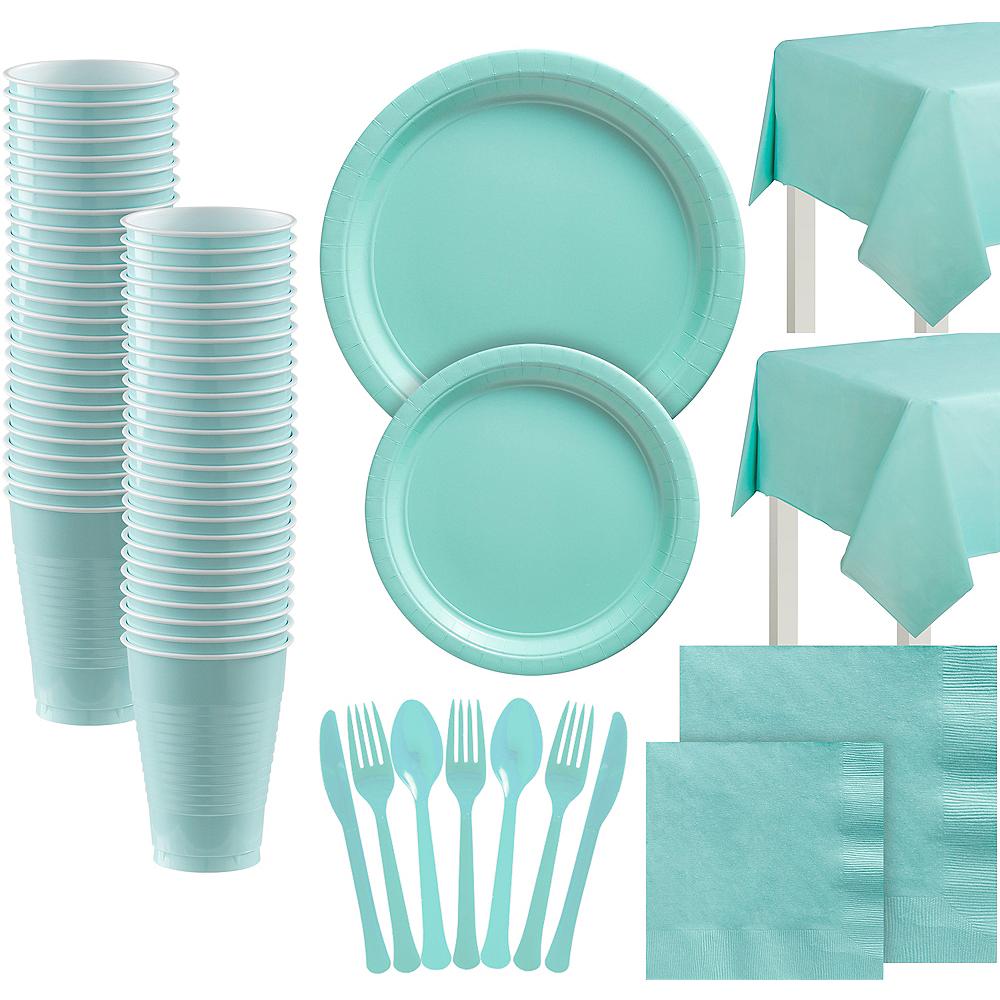 Robin's Egg Blue Paper Tableware Kit for 100 Guests Image #1