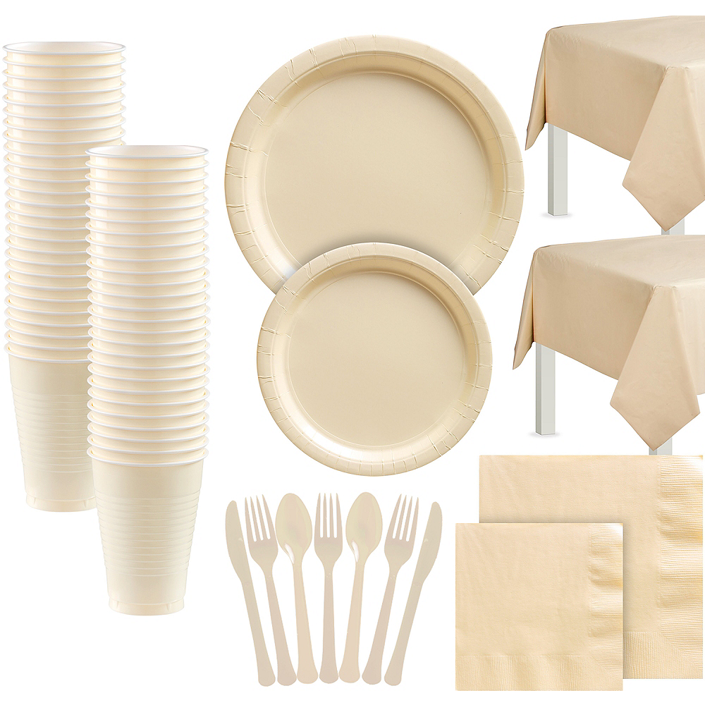 Vanilla Cream Paper Tableware Kit for 100 Guests Image #1
