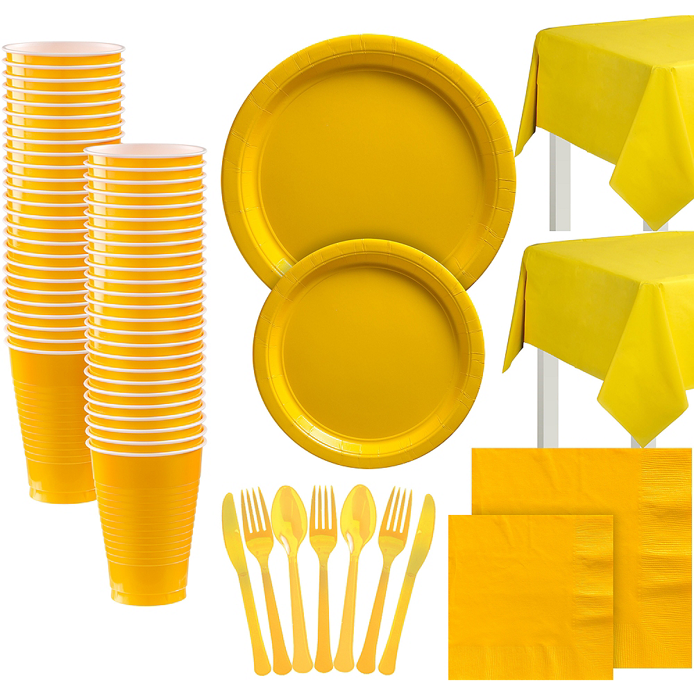 Sunshine Yellow Paper Tableware Kit for 100 Guests Image #1