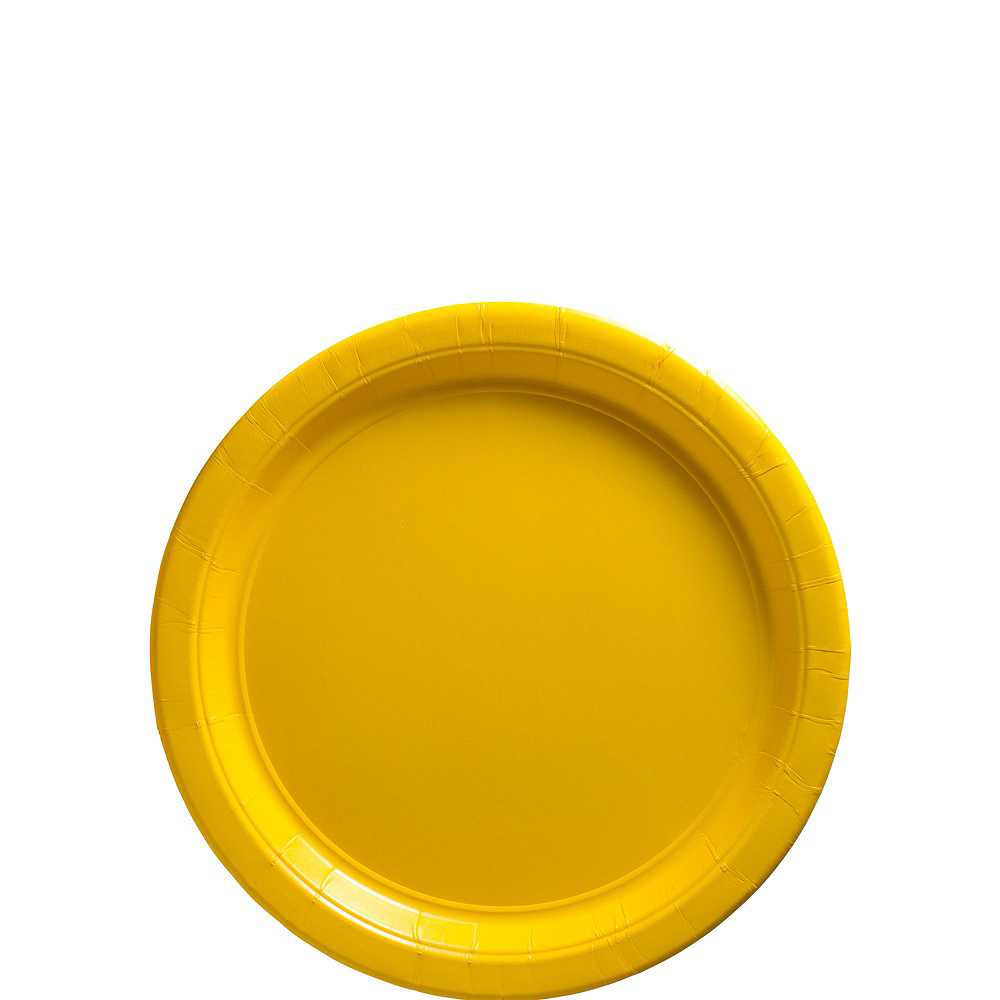 Sunshine Yellow Paper Tableware Kit for 100 Guests Image #2