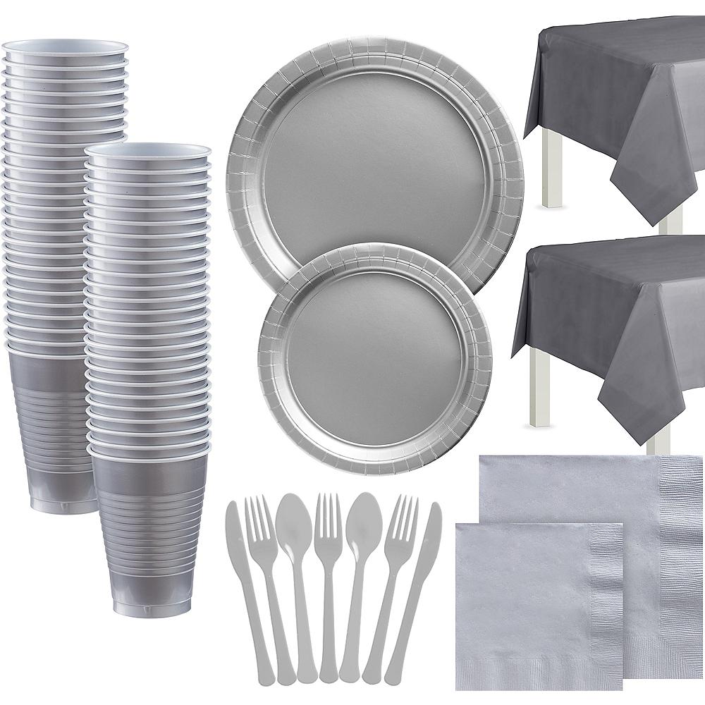 Silver Paper Tableware Kit for 100 Guests Image #1
