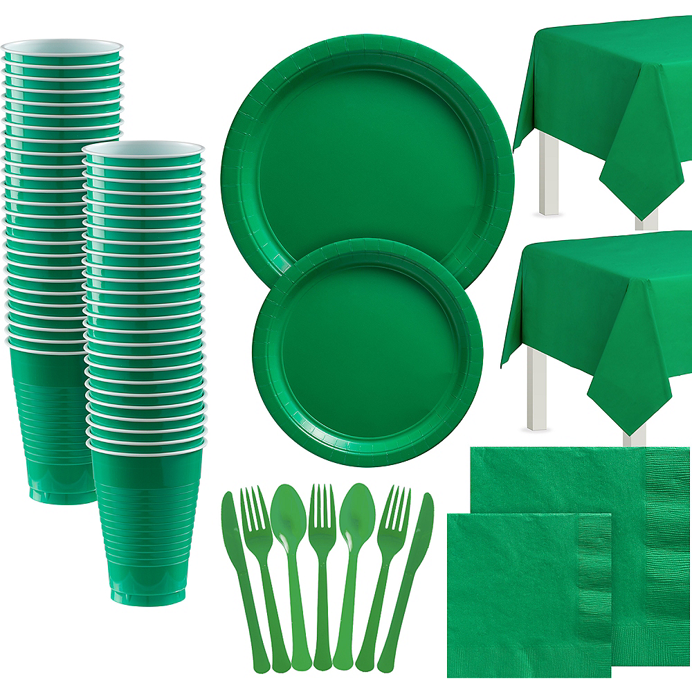 Festive Green Paper Tableware Kit for 100 Guests Image #1