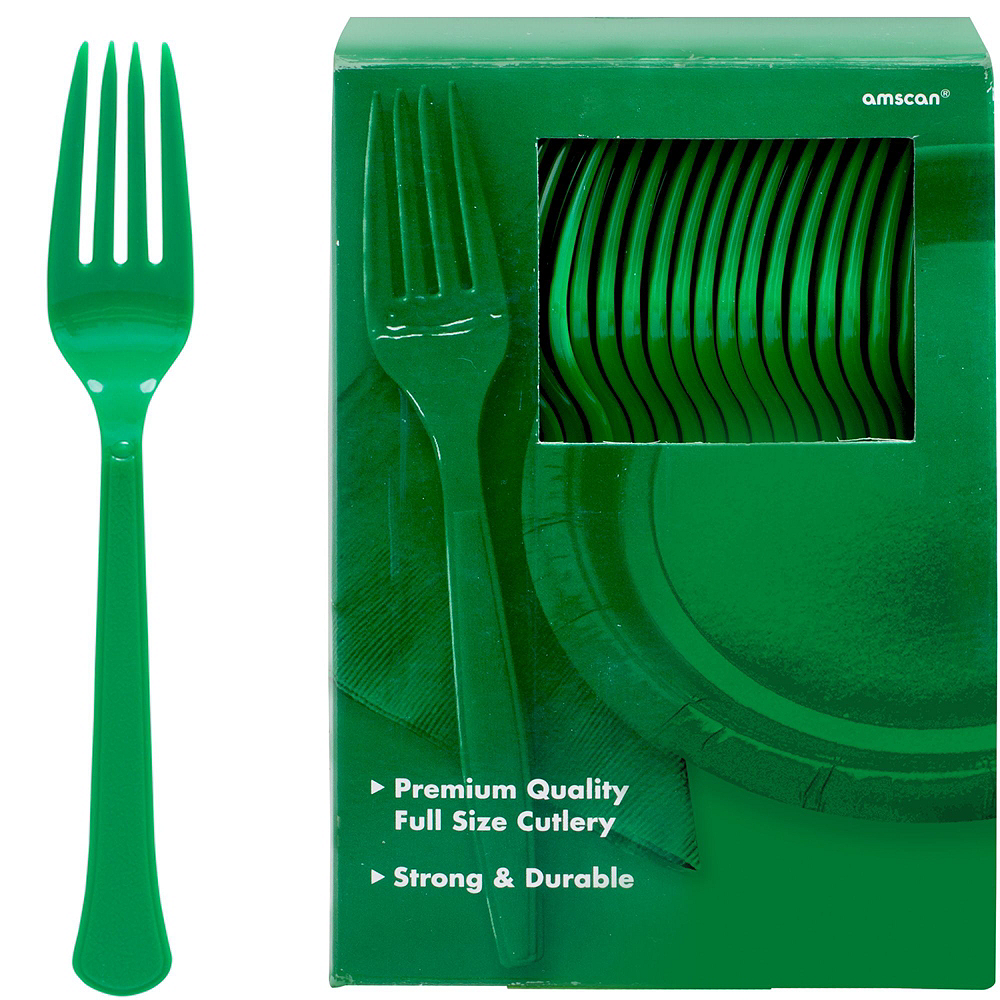 Festive Green Paper Tableware Kit for 100 Guests Image #8