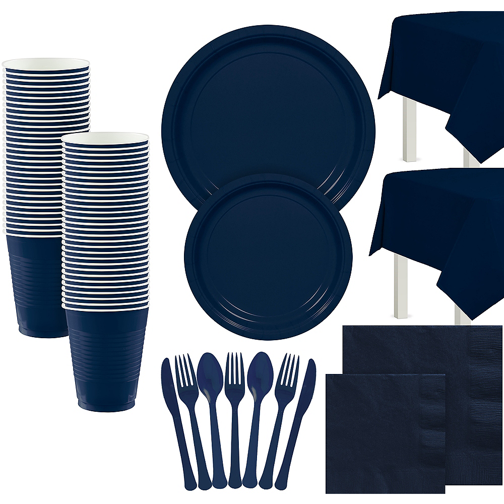 True Navy Paper Tableware Kit for 100 Guests Image #1