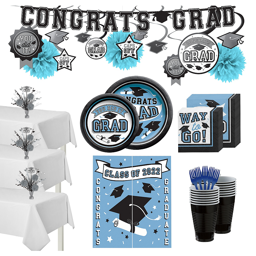 Nav Item for Congrats Grad Pastel Blue Graduation Party Kit for 100 Guests Image #1