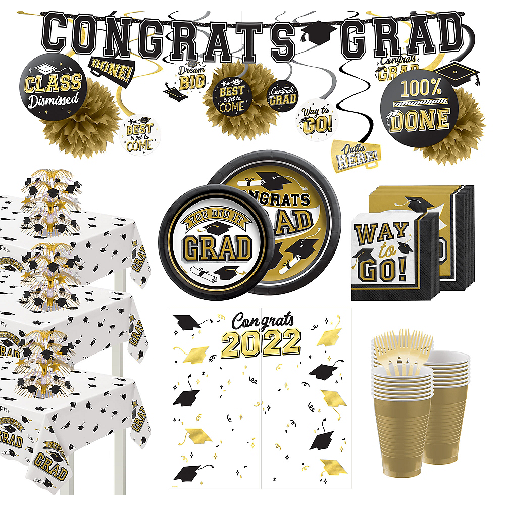 Congrats Grad Gold Graduation Party Kit for 100 Guests Image #1