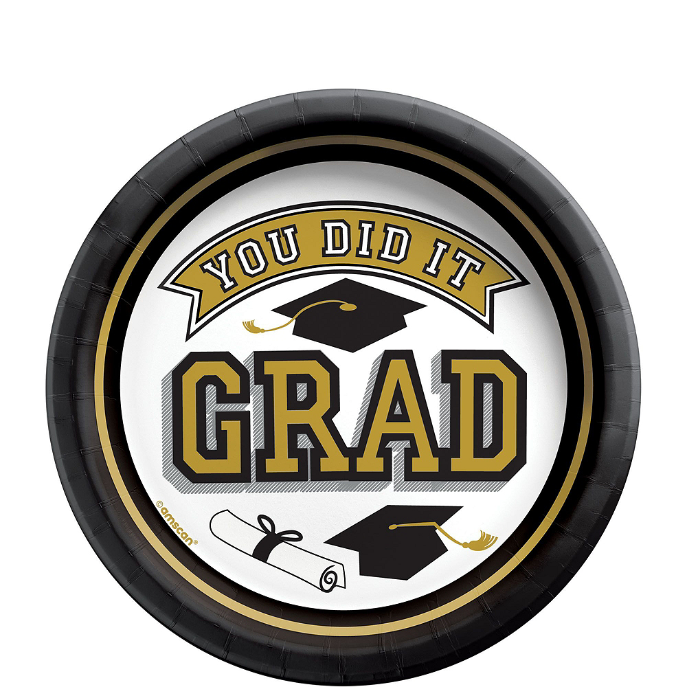 Congrats Grad Gold Graduation Party Kit for 100 Guests Image #2