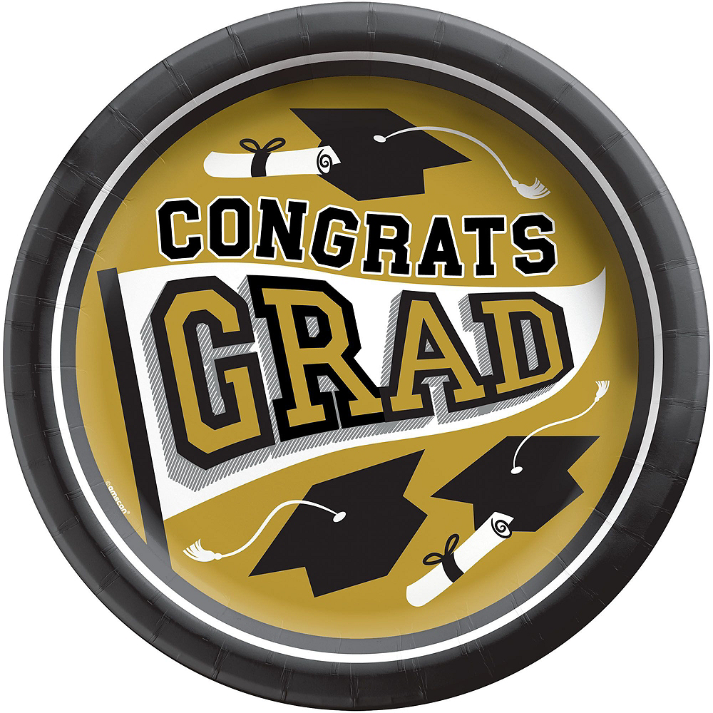 Congrats Grad Gold Graduation Party Kit for 100 Guests Image #3