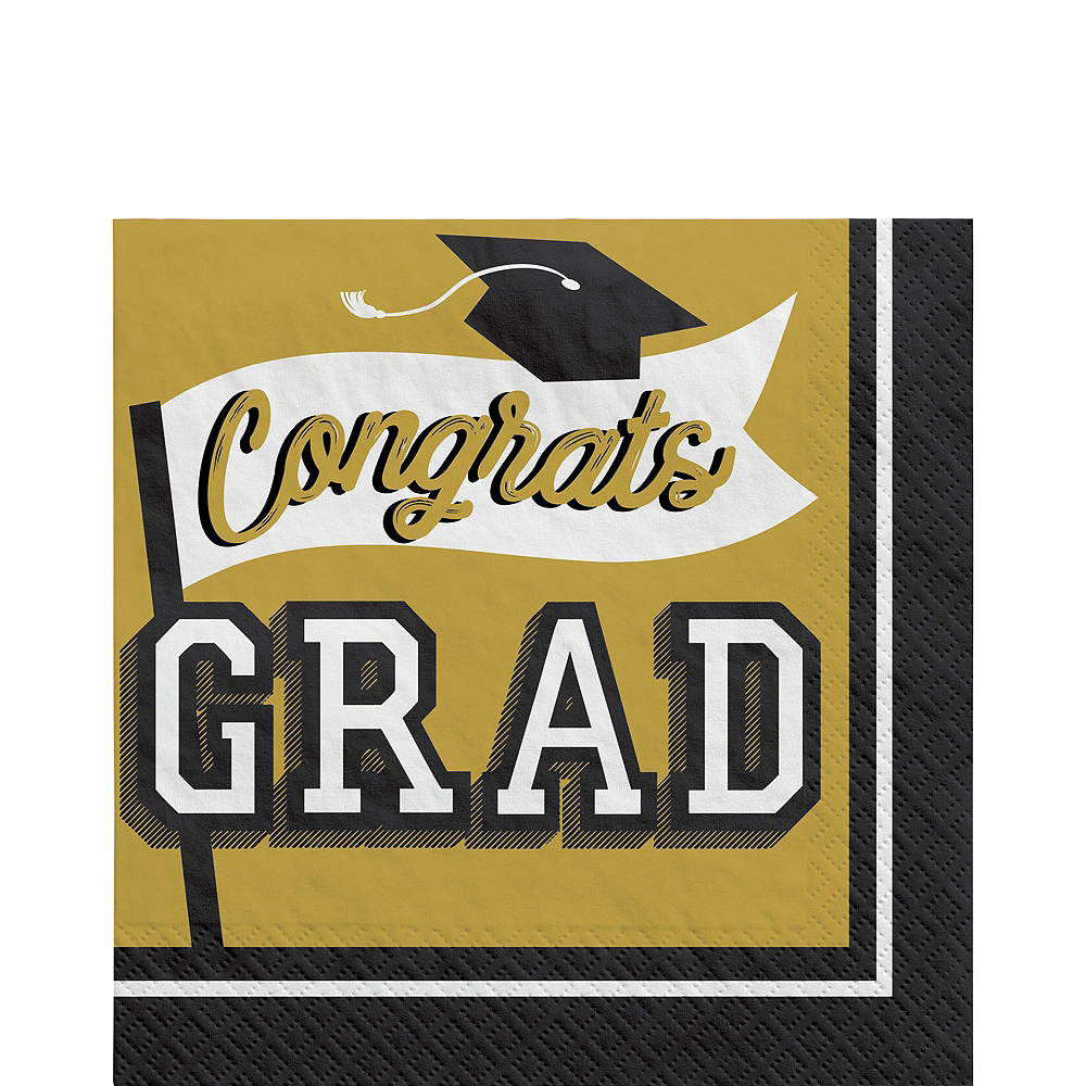 Congrats Grad Gold Graduation Party Kit for 100 Guests Image #5