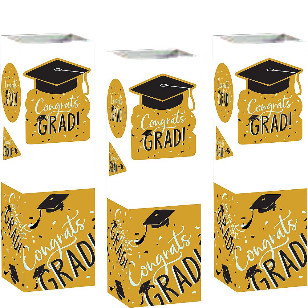 Sunshine Yellow Hats Off Congrats Graduation Cardstock Centerpieces 6ct Image #1