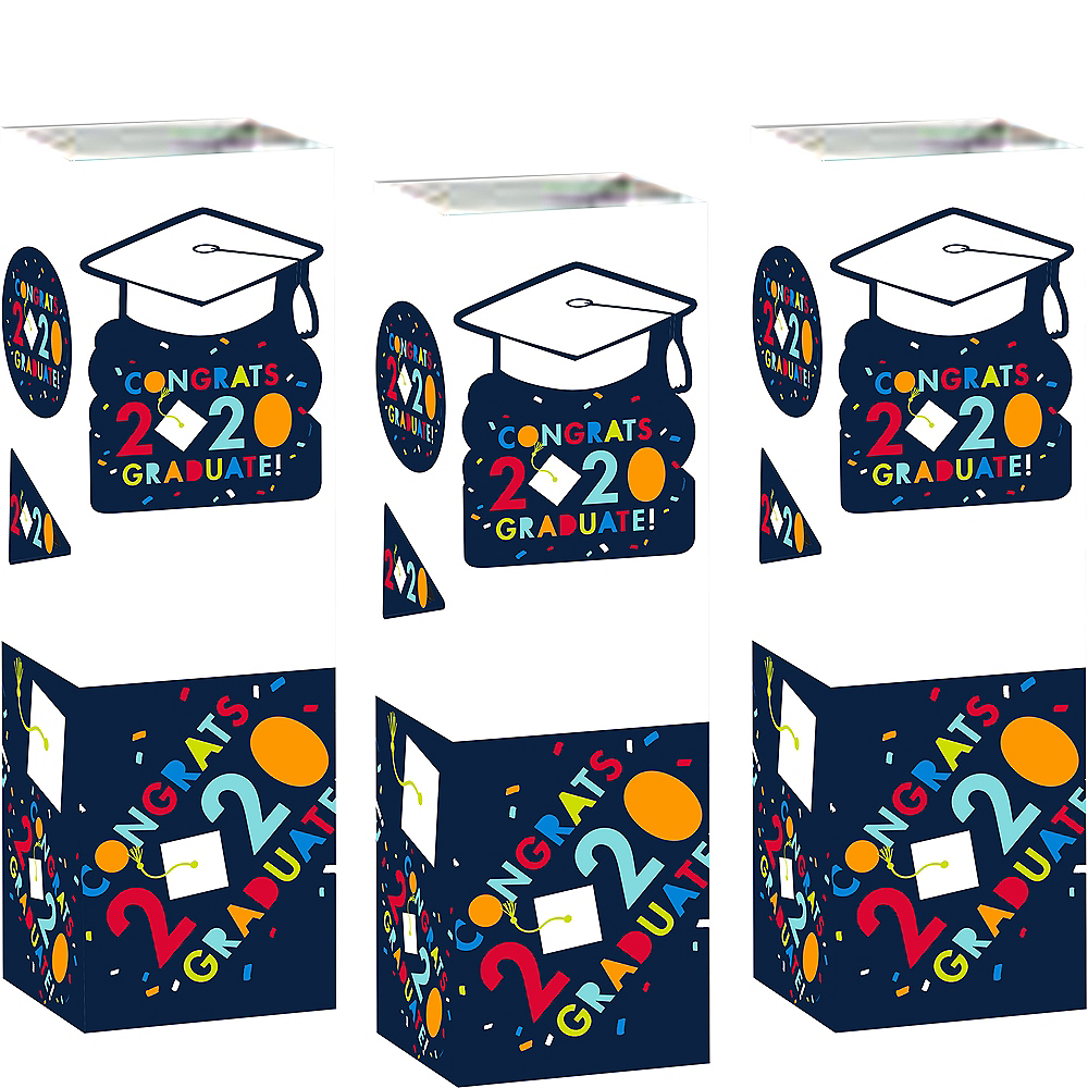 Navy Awesome Congrats 2020 Graduation Cardstock Centerpieces 6ct Image #1