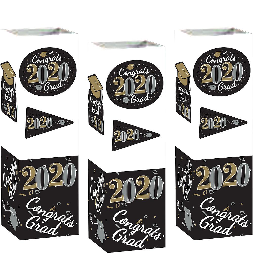 Black, Silver & Gold Congrats 2020 Graduation Cardstock Centerpieces 6ct Image #1