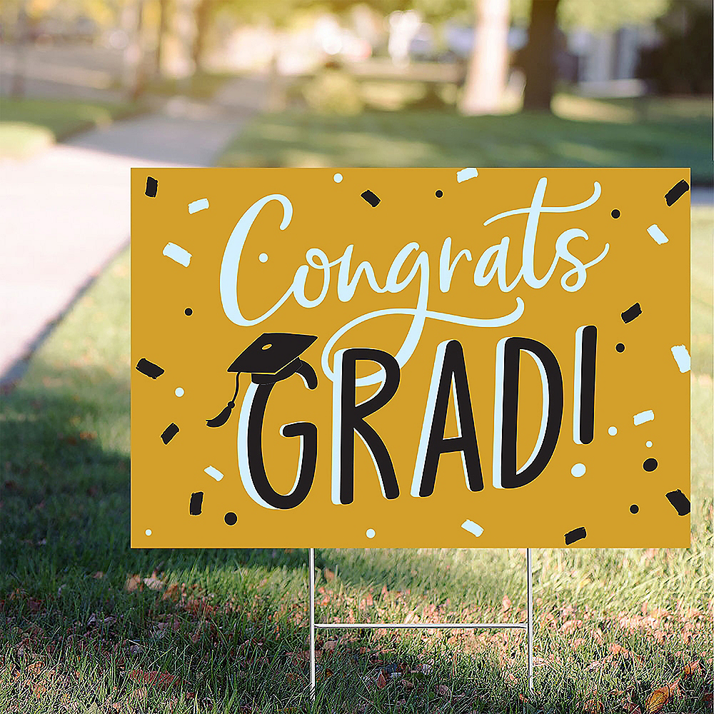 Sunshine Yellow Hats Off Congrats Graduation Yard Sign, 22in x 15in Image #1