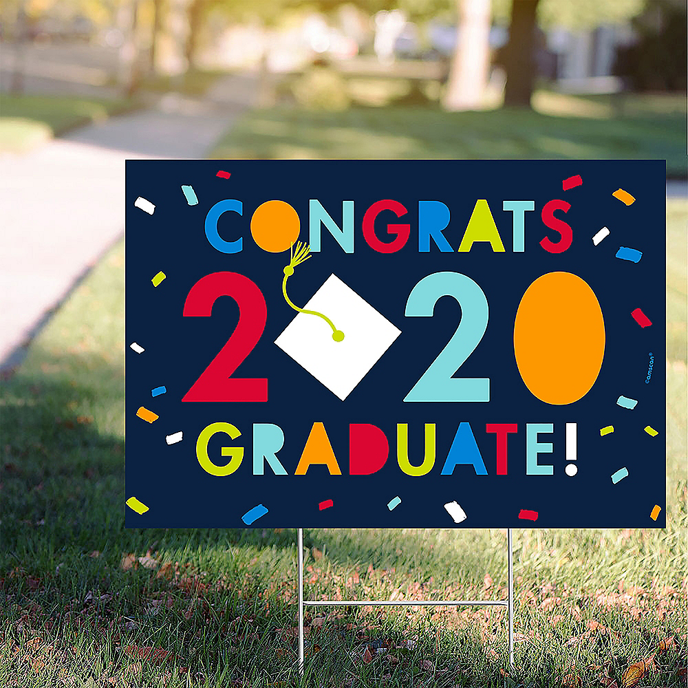 Navy Awesome Congrats 2020 Graduation Yard Sign, 22in x 15in Image #1