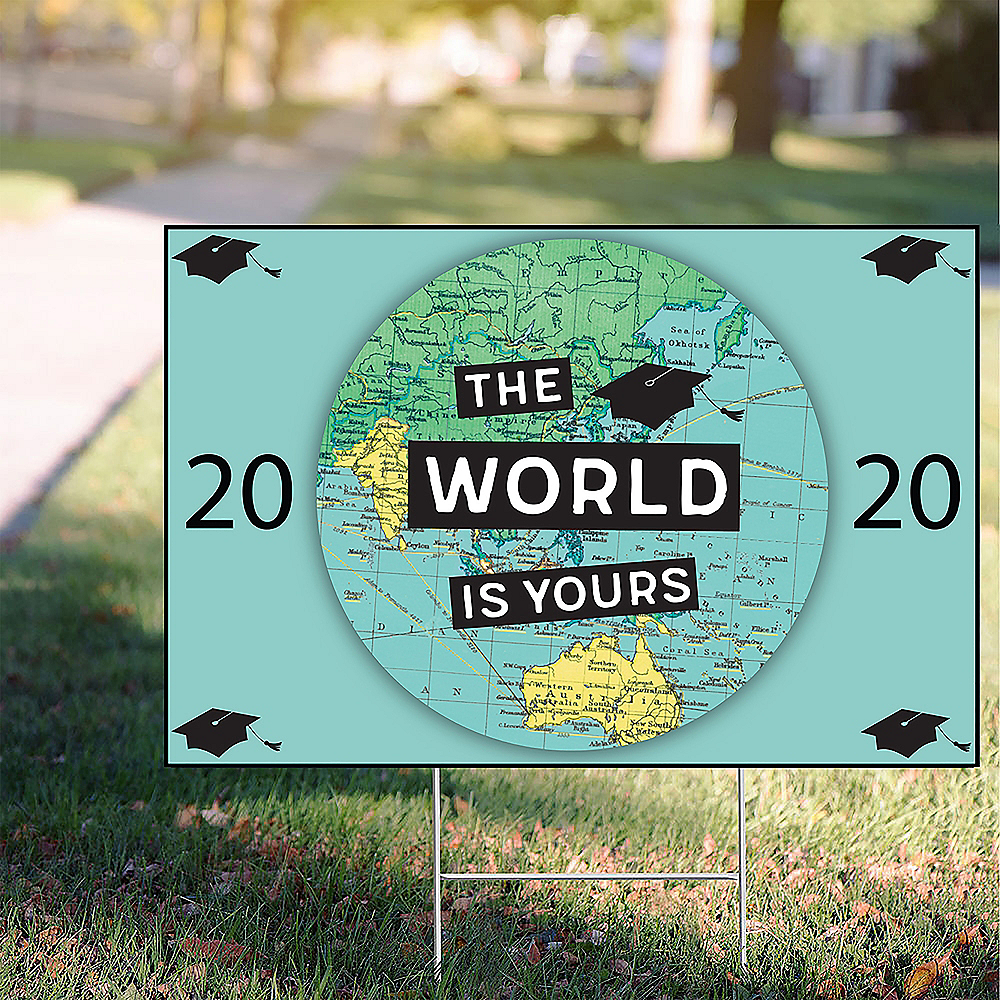 The World Awaits Graduation Yard Sign, 22in x 15in Image #1