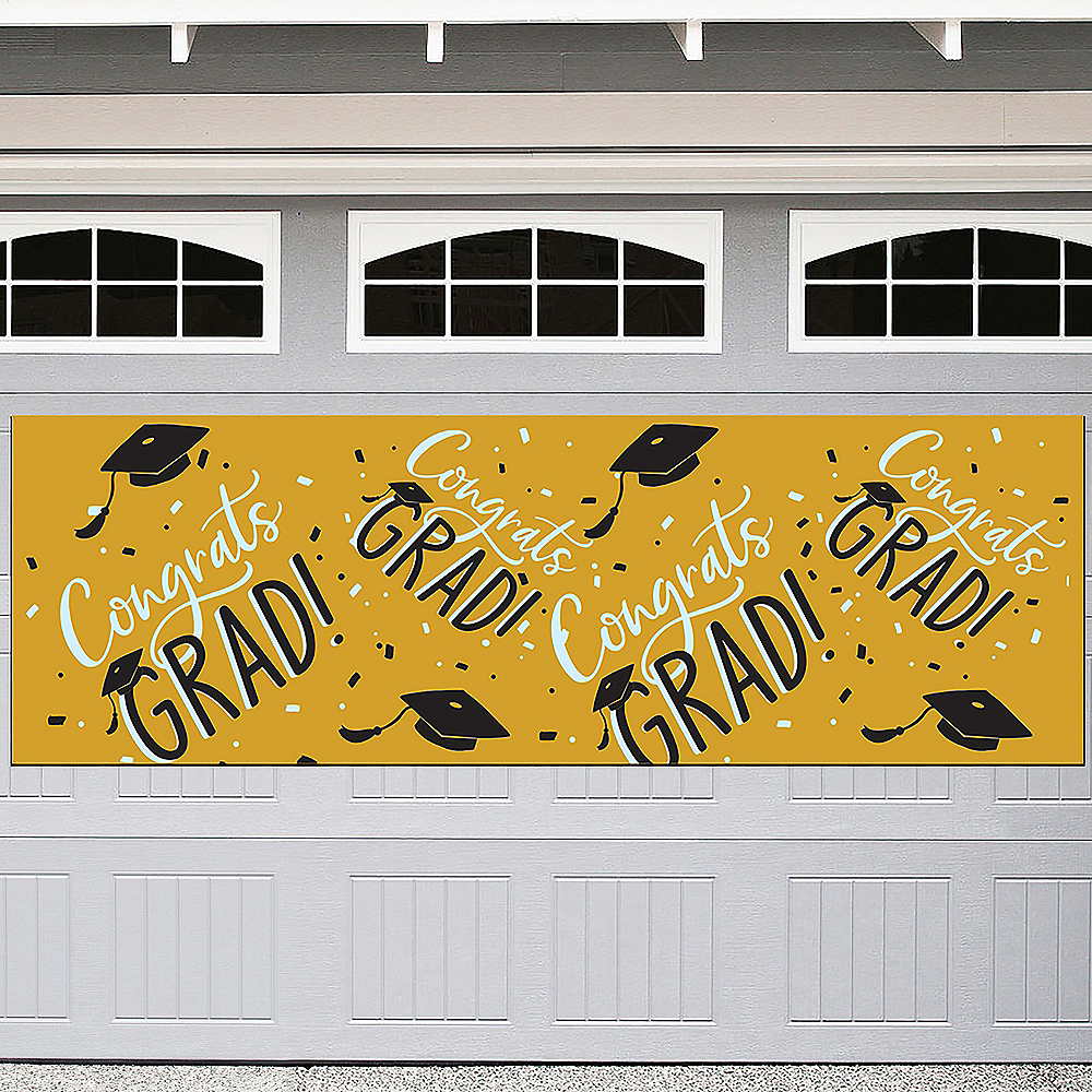 Sunshine Yellow Hats Off Congrats Graduation Outdoor Banner, 6ft x 2ft Image #1